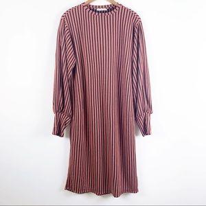 Zara Striped Long Sleeve Midi Dress Fall Autumn